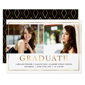 Faux Gold Foil Look Photo Graduation Open House Card