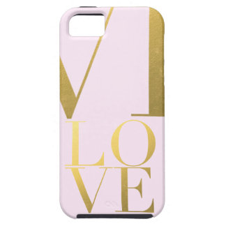 Faux Gold Foil Love Pink iPhone 5 Covers