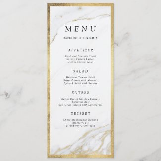 Faux gold foil marble luxury modern wedding menu