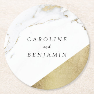 Faux gold foil marble luxury modern wedding round paper coaster