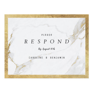 Faux gold foil marble luxury modern wedding RSVP Postcard
