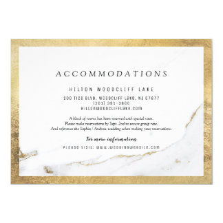 Faux gold foil marble modern wedding accommodation card