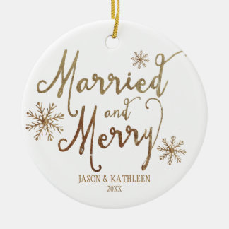 Faux Gold Foil MARRIED AND MERRY | 2015 Holiday Round Ceramic Ornament