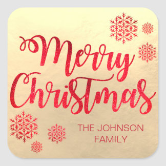 Faux Gold foil Merry Christmas Red Snowflakes Square Sticker