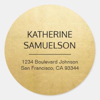 Faux GOLD FOIL Name & Return Address Classic Round Sticker