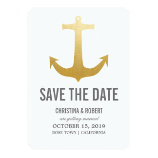 """Faux Gold Foil Nautical Anchor Save The Date 5"""" X 7"""" Invitation Card"""
