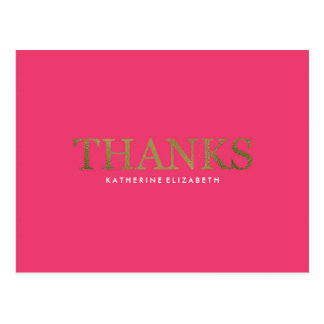 Faux Gold Foil on Hot Pink - Flat Thank You Card