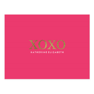 Faux Gold Foil on Hot Pink XOXO Thank You Card