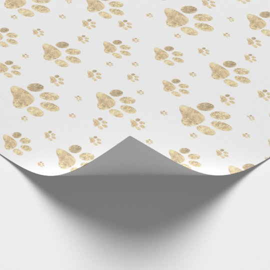 faux gold foil pet paw print pattern wrapping paper