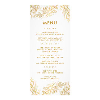 Faux Gold Foil Pine Needles Menu Card
