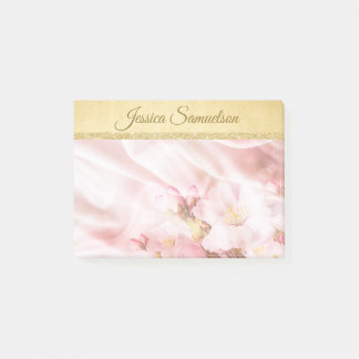 Faux Gold Foil & Pink Cherry Blossoms   Add NAME Post-it Notes