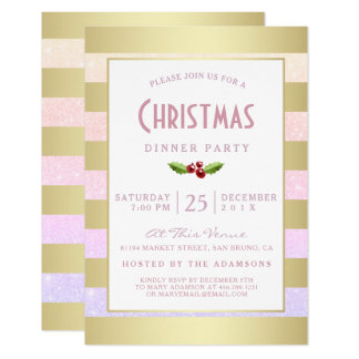 "Faux Gold Foil & Pink Girly Glitter Christmas 3.5"" X 5"" Invitation Card"