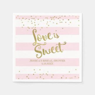 Faux Gold Foil Pink Stripes Love is Sweet Shower Paper Napkin