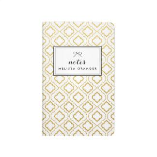 Faux Gold Foil Quatrefoil Personalized Journal