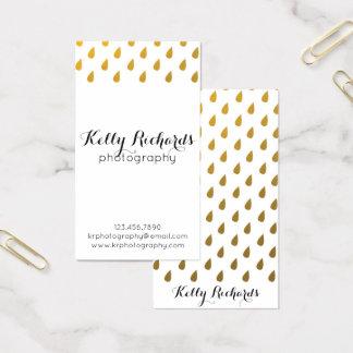 Faux Gold Foil Rain Water Drops Business Cards