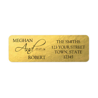 Faux Gold Foil Save the Date Bride Groom Adress