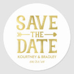 FAUX GOLD FOIL SAVE THE DATE | VINTAGE HEART ARROW ROUND STICKER