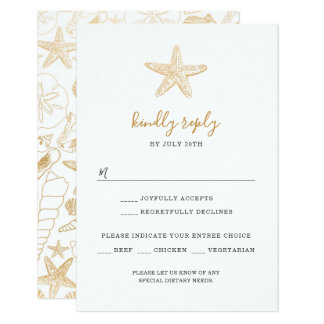 Faux Gold Foil sea shells wedding rsvp Card