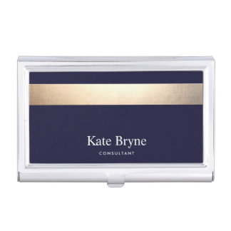 Faux Gold Foil Stripe Classic Navy Blue Name Business Card Holder