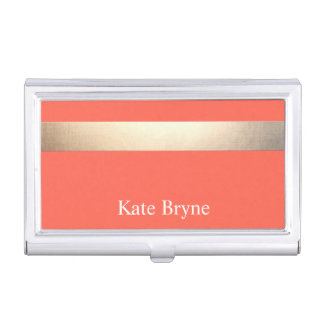Faux Gold Foil Stripe Classic Orange Coral Name Business Card Holder