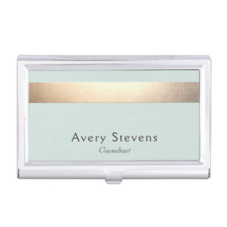 Faux Gold Foil Stripe Modern Stylish Light Blue Business Card Holder
