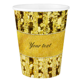 Faux Gold Foil Stripes and Confetti Paper Cup