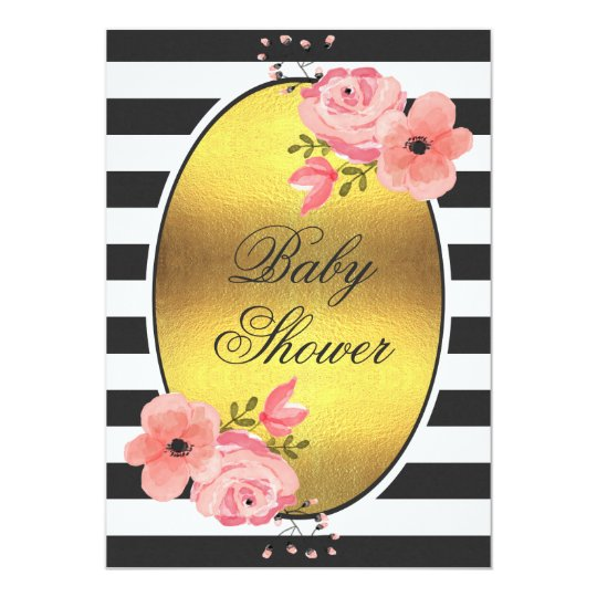 Faux Gold Foil Stripes Pink Flowers Baby Shower Card