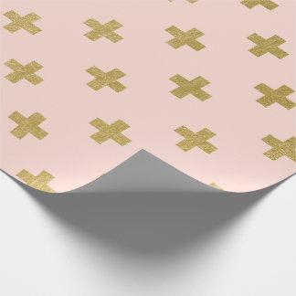 Faux Gold Foil Swiss Cross Pattern