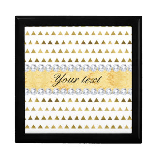 Faux Gold Foil Triangles Pattern and Diamonds Gift Box