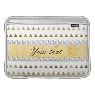 Faux Gold Foil Triangles Pattern and Diamonds MacBook Sleeve