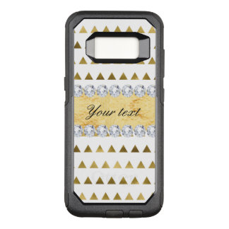 Faux Gold Foil Triangles Pattern and Diamonds OtterBox Commuter Samsung Galaxy S8 Case