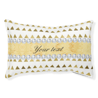 Faux Gold Foil Triangles Pattern and Diamonds Pet Bed