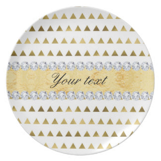 Faux Gold Foil Triangles Pattern and Diamonds Plate