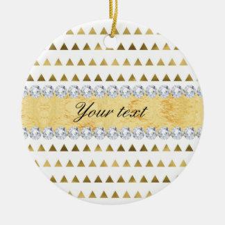 Faux Gold Foil Triangles Pattern and Diamonds Round Ceramic Ornament