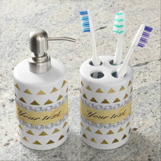 Faux Gold Foil Triangles Pattern and Diamonds Soap Dispenser