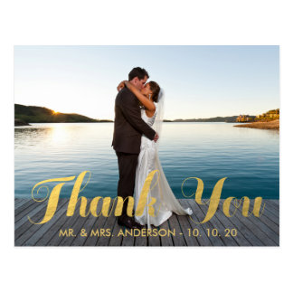 FAUX GOLD FOIL WEDDING PHOTO THANK YOU POSTCARD