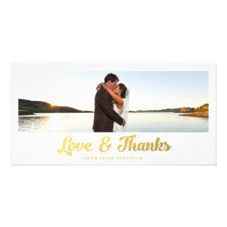 Faux Gold Foil | Wedding Thank You Photo Card
