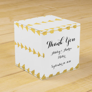 Faux Gold Foil White Arrows Pattern Party Favor Box