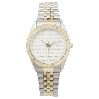 Faux Gold Foil White Arrows Pattern Watches