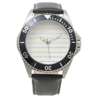 Faux Gold Foil White Arrows Pattern Wrist Watches
