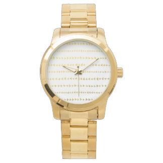 Faux Gold Foil White Arrows Pattern Wristwatch