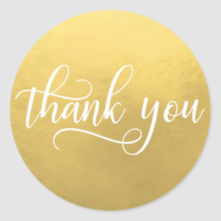 Faux GOLD FOIL White Script Calligraphy Thank You Classic Round Sticker