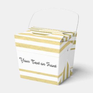 Faux Gold Foil White Stripes Pattern Favor Box