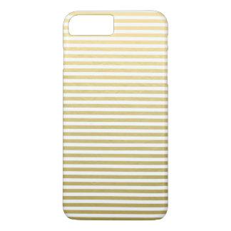 Faux Gold Foil White Stripes Pattern iPhone 7 Plus Case