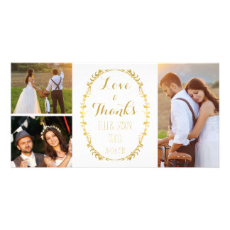 Faux Gold Foil Wreath Wedding Thank You Photocard Photo Card Template