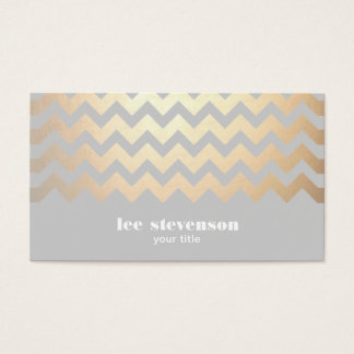 Faux Gold Foil Zig Zag Pattern Gray Cool Trendy Business Card