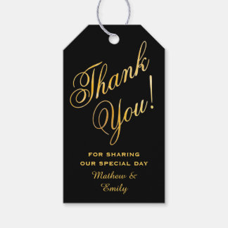 Faux Gold Font Customized Thank You Wedding Favor Gift Tags
