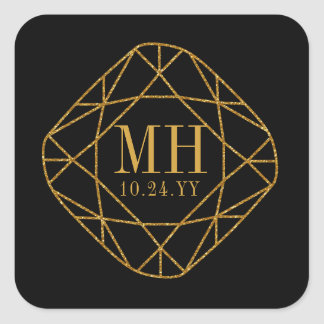 Faux Gold Gem Stone Monogram Wedding Save the Date Square Sticker