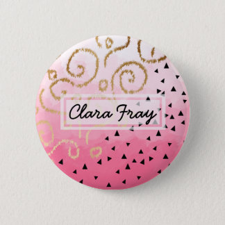 faux gold geometric pattern rose pink brushstrokes 2 inch round button