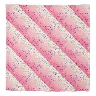 faux gold geometric pattern rose pink brushstrokes duvet cover
